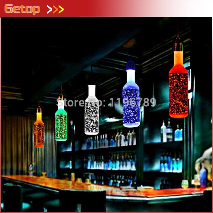 Best Price Bubble Crystal Bottle Pendant Lights BAR lamp creative personality LED restaurant crystal art 6 color for shoose худи print bar best color