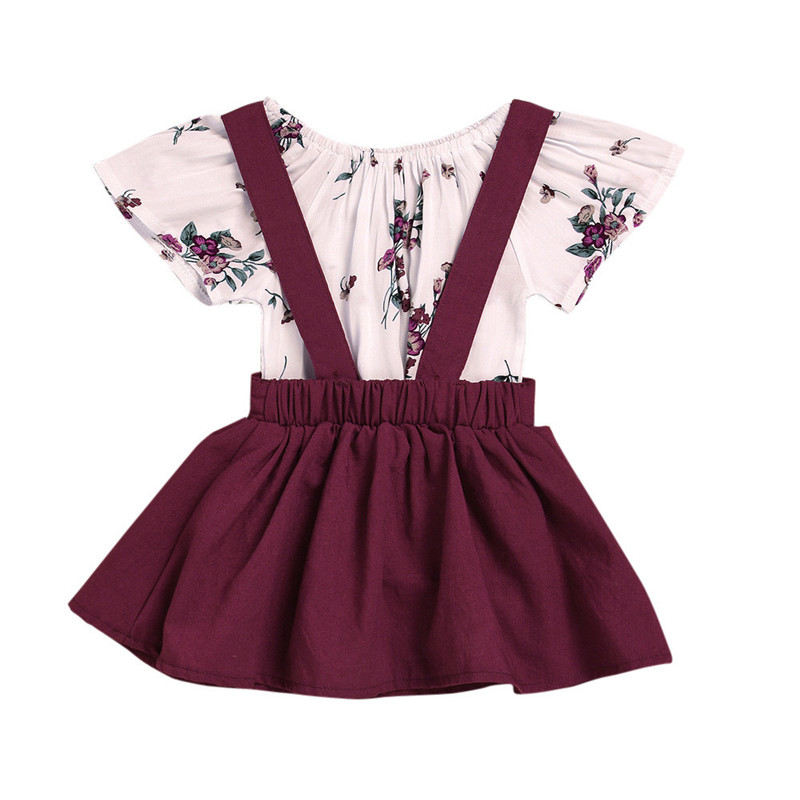 Baby Girl Clothes Set Romper Set 2018 Toddler Kid Baby Girls Floral Romper +Suspender Dress Overalls 2PCS Outfits Clothing Xm30