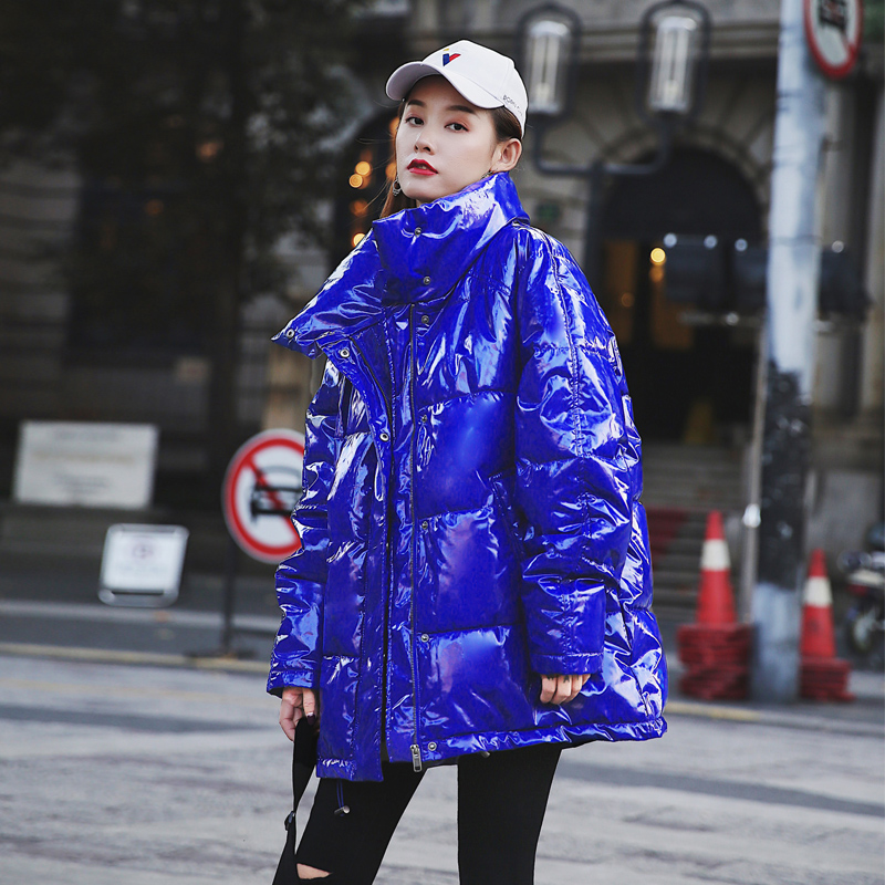 Women's Down Jacket Trend Shiny Oversized Winter Jacket Women Stand Collar Padded   Parka   2019 New Arrival Thick Warm Winter Coat