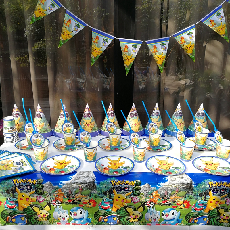 91pcs Pikachu Tableware Kid Birthday Party Decoration supplies Table Cloth Cup Paper plates Napkin Flag hat Straw
