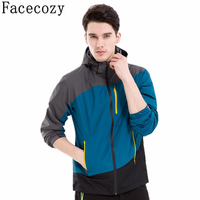 ФОТО Men Autumn&Spring Outdoor Hooded Camping&Hiking Thin Zipper Jacket Male Patchwork Style Windproof Rock Climbing&Hunting Clothes