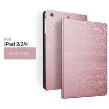 Pour Apple iPad 4 Bois grain Case Couverture Pour iPad 2 3 4 Retina Smart Case Slim Designer Tablet PU Pour ipad modèle D'arbre Case