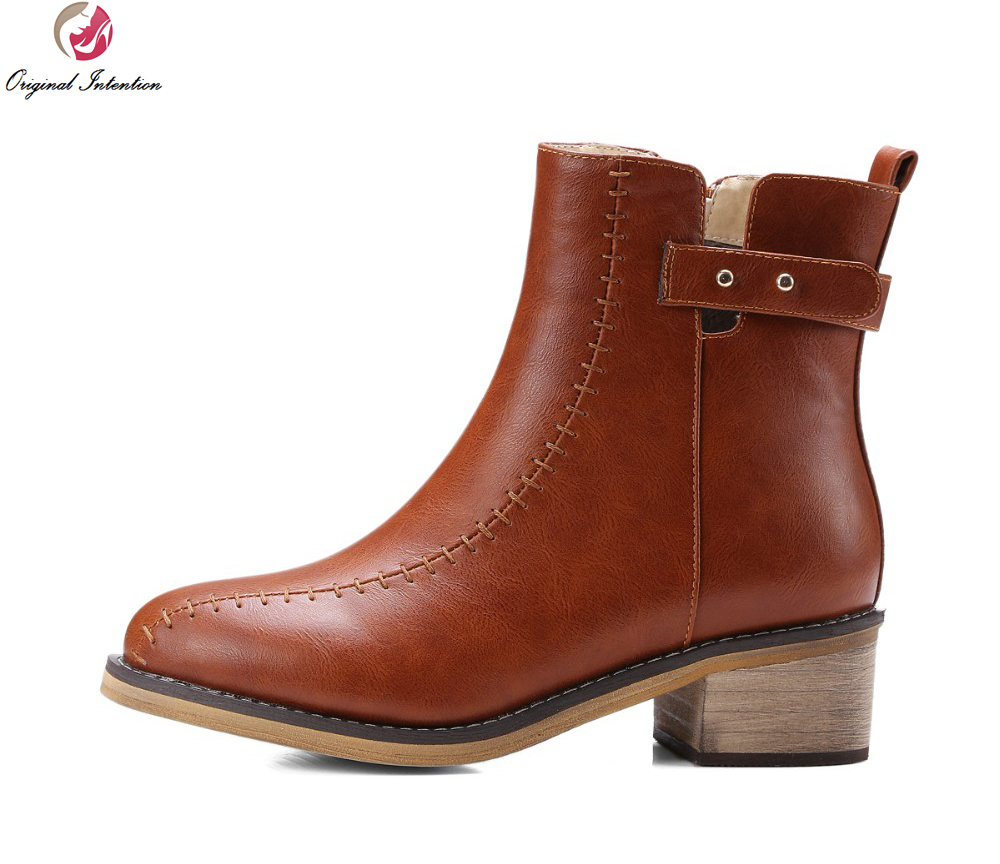Original Intention New Classic Women Ankle Boots Nice Round Toe Square Heels Elegant Black Brown Shoes Woman US Size 3.5-16