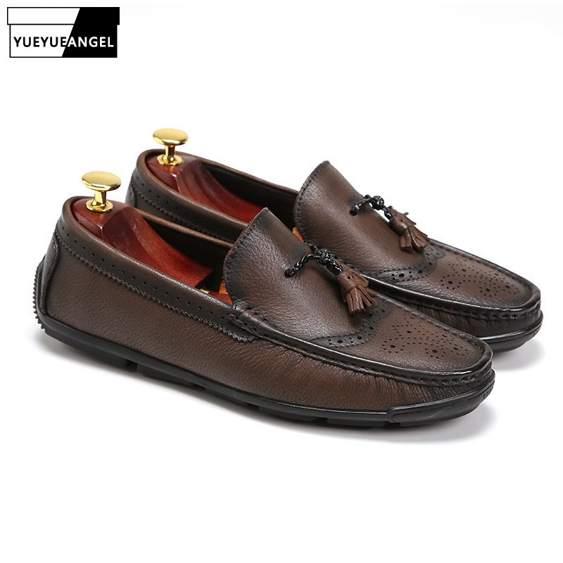 Men Italian Leather Slip-On Tassel Shoes Loafers British Classic Brogue Casual Shoes Brand Business Zapatos Mocasines HombreMen Italian Leather Slip-On Tassel Shoes Loafers British Classic Brogue Casual Shoes Brand Business Zapatos Mocasines Hombre
