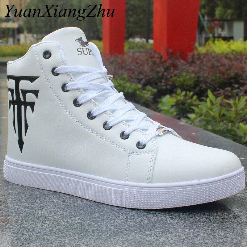 Haute Aider Les Hommes Chaussures 2018 Coréenne Hip-Hop Casual Chaussures  Hommes blanc Noir Marque De Mode Confortable Superstar Adulte Mâle  Chaussures ... a815288cf41f