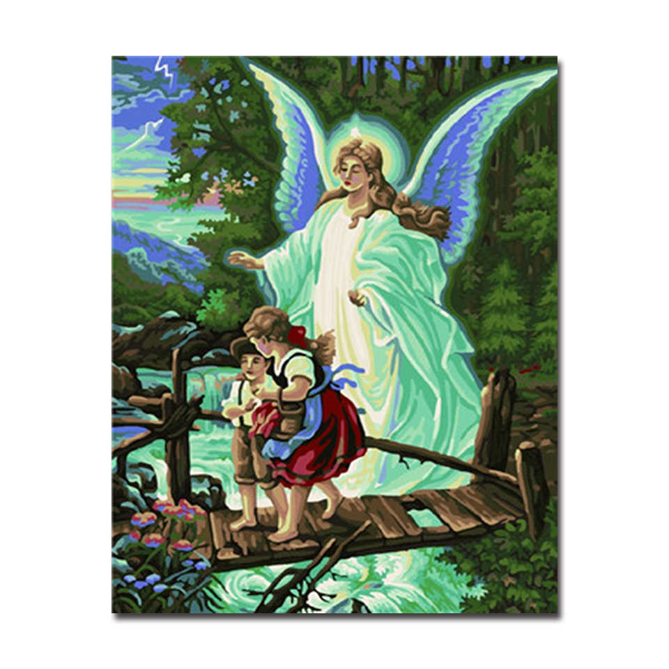 Angels God Protect Children Painting By Numbers DIY Digital Oil Pictures On Linen Canvas Handpainted Home Decor Wall Art Drawing