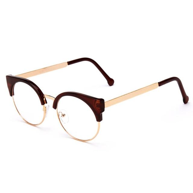 615eb1fcc392 Vintage Women Men Sun Glasses Metal Half Frame Cat Eye Eyewear Prescription Optical  Myopia Computer Clear Glasses women sunglass