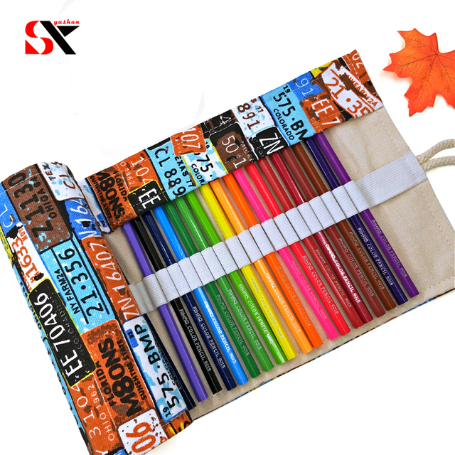 36 48holes number plate canvas school pencil case roll up pencil bag