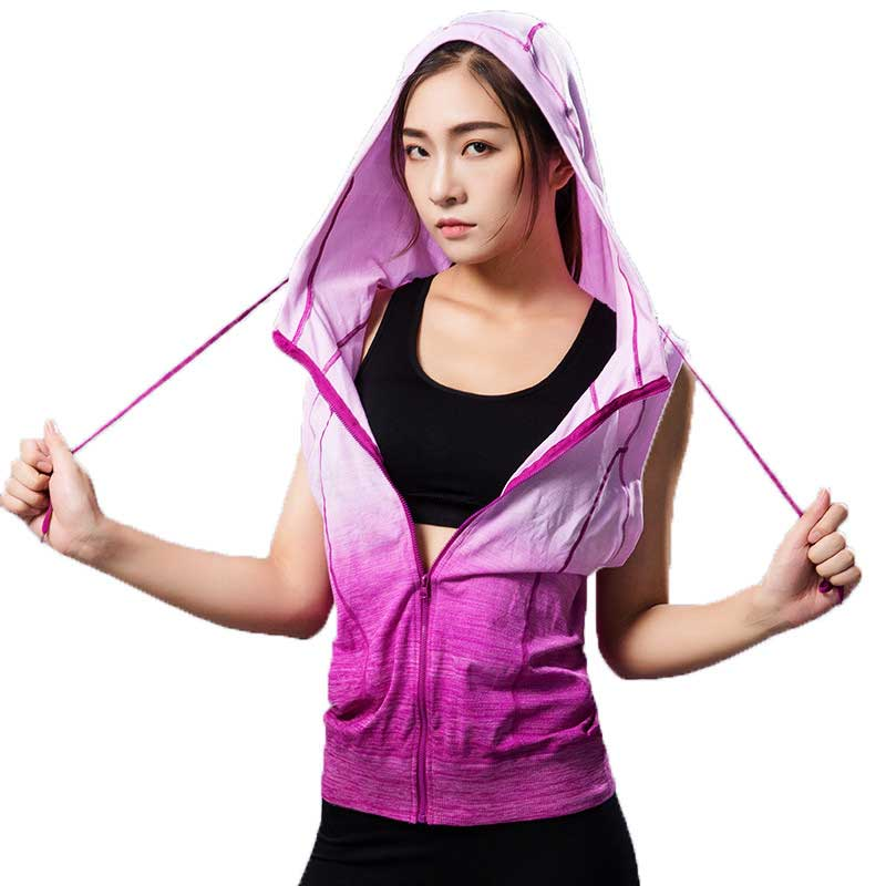 9bbdeaca Women Gymming Sleeveless Hooded Tee Fitness Sporting Workout Vest Exercise  Runs Clothing Sportswear Tank Tops Hoodies