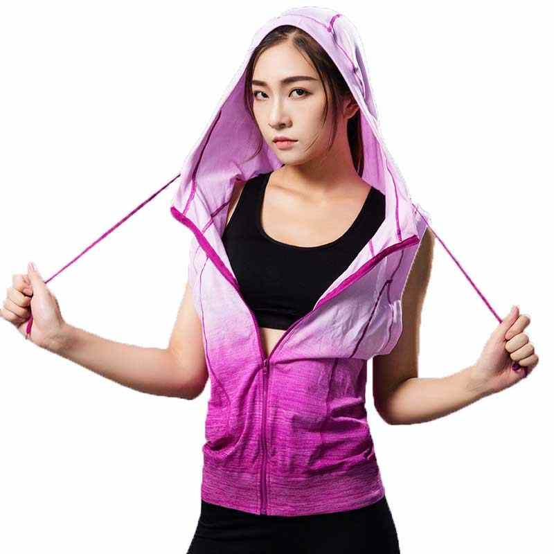 Women Gymming Sleeveless Hooded Tee Fitness Sporting Workout Vest Exercise Runs Clothing Sportswear Tank Tops Hoodies M10