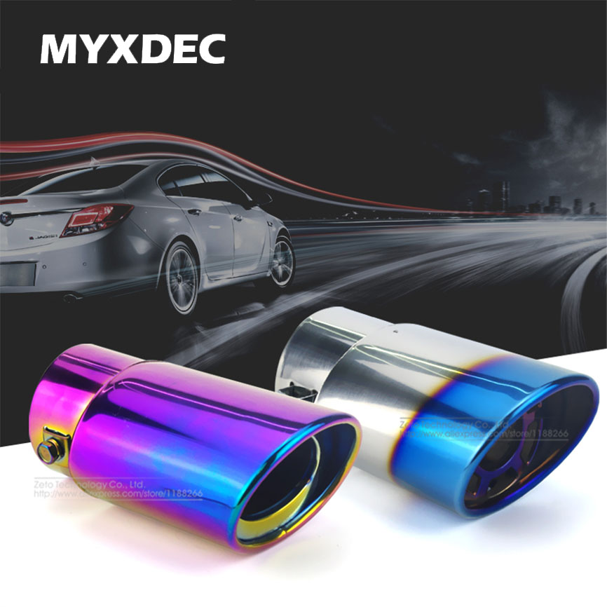цена на Car Auto Exhaust Muffler Tip Stainless Steel Pipe Chrome Trim Modified Car Rear Tail Throat Exhause Liner Accessories Universal
