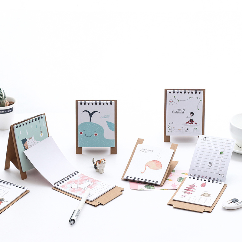 2018 New Arrival Cute Cartoon Animal cat Fruits Brief Paper Calendar dual Daily Scheduler Table Planner Yearly Agenda Organizer