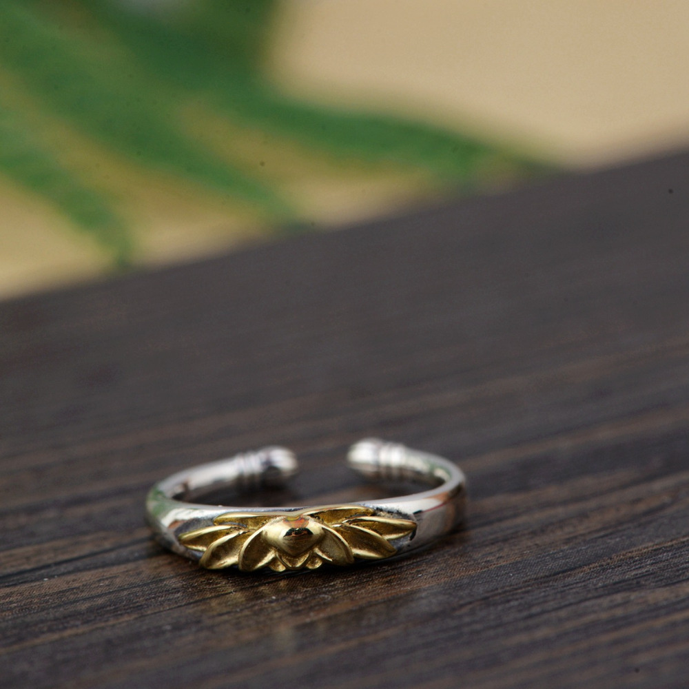Women's 925 Sterling Silver Golden Lotus Ring 4