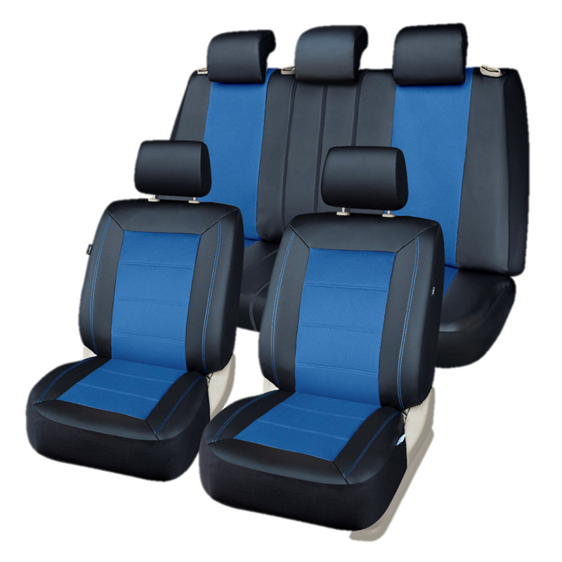 PIC AUTO Seat Covers Full Set Universal fit Auto Car Seat Protector Mesh & PU Leather+Side Airbag Vehicle Interior Accessories