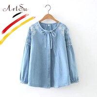 ArtSu Women Vintage Washed Denim Shirts Fashion Floral Embroidery Kimono Blusas 2017 Autumn Long Sleeve Blouse