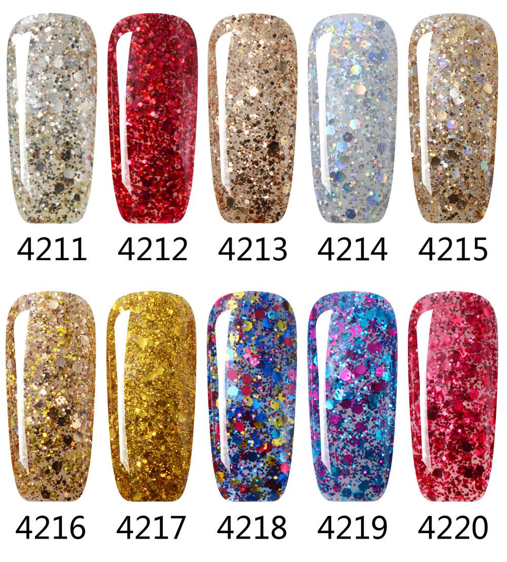 3pcs Diamond Glitter Natural Organic Nail Polish Soak Off Colors Gel ...