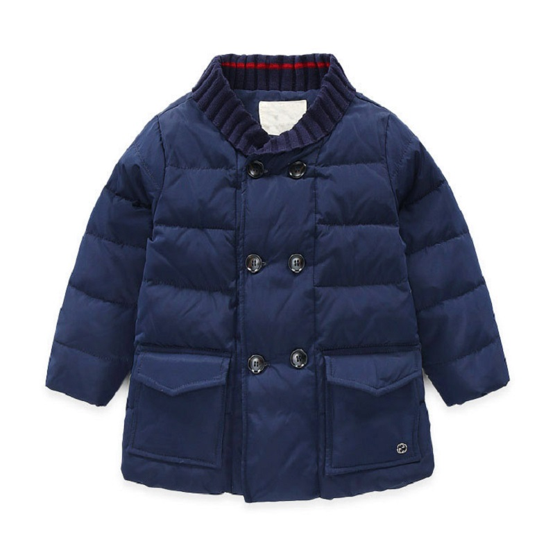 FYYIYI 2018 Winter new thread lapel boys double breasted thick long down jacket