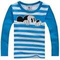 2016 осень зима ребенок мальчик одежда с длинным рукавом полосы хлопка высшего moulticolor персонажа из мультфильма дети мальчики девочки одежда tee