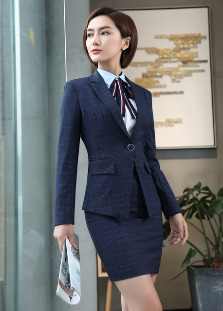 412a154037 Formal Female Blue Blazer Women Business Suits with Skirt and Jacket Sets  Ladies Work Wear Office Uniform Designs