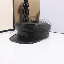 2019 Winter Vintage Women High-grade Berets Black yarn PU Leather Hats Military Hat Gorras Snapback Caps Female Casquette Cap