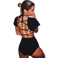 Black Bodysuit Women Tops Spring Summer 2018 Ruffles Short Sleeve Back Lace Up Sexy Bodysuit High