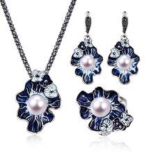 Винтажные креативные роскошные женские Ювелирные наборы в форме цветка для помолвки, Изысканное жемчужное ожерелье, серьги, кольцо, 3 шт. ювелирные изделия для влюбленных