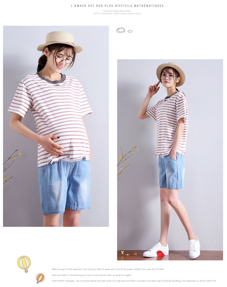 e538e79e0d 2018 summer maternity jeans short for pregnant women breathable pregnancy  clothes comfortable love print abdominal denim shorts