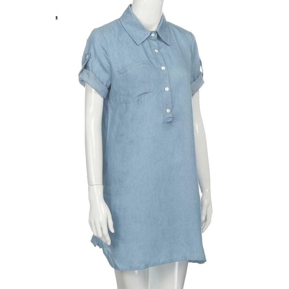 Wanita Lengan Pendek Gaun Solid Denim Kerah Gaun Mini F8