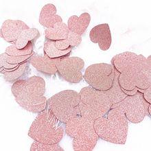 100 шт, конфетти в виде сердца из розового золота, Круглый Звездный конфетти для свадьбы, для девочек, конфетный батончик, конфетти 3 см