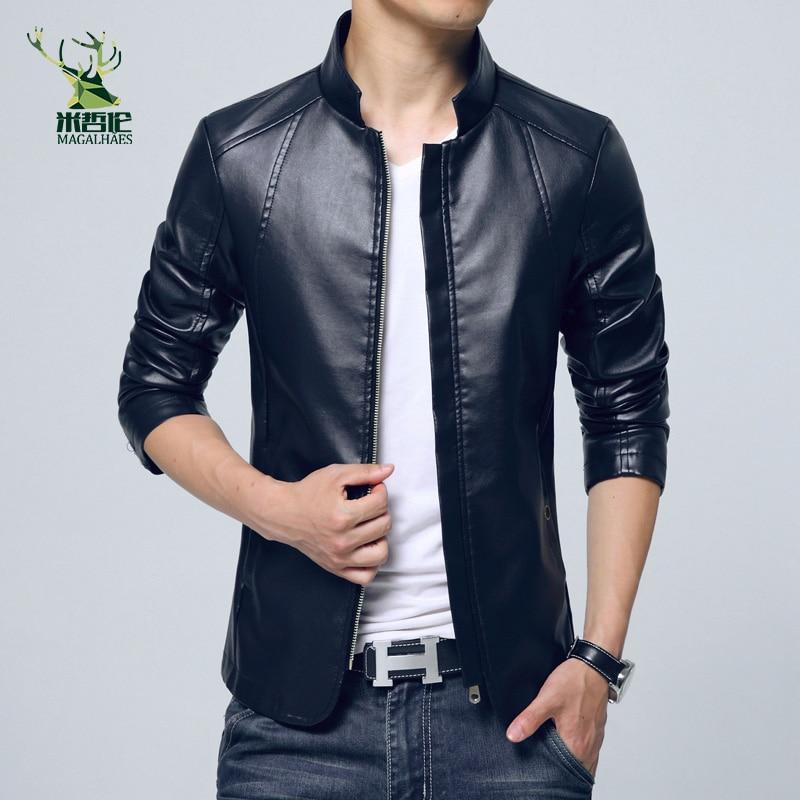 2016. gada jaunās modes vīriešu PU jakas ar statīvu apkakli - Vīriešu apģērbi - Foto 2