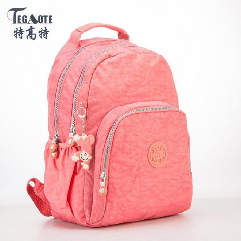 TEGAOTE Small Backpack Girls Student-Bag Teenage Nylon Female Solid for Mochila Feminine