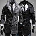 Grátis pp! Homens grosso casaco de inverno quente longo casaco casaco M-2XL preto e cinza
