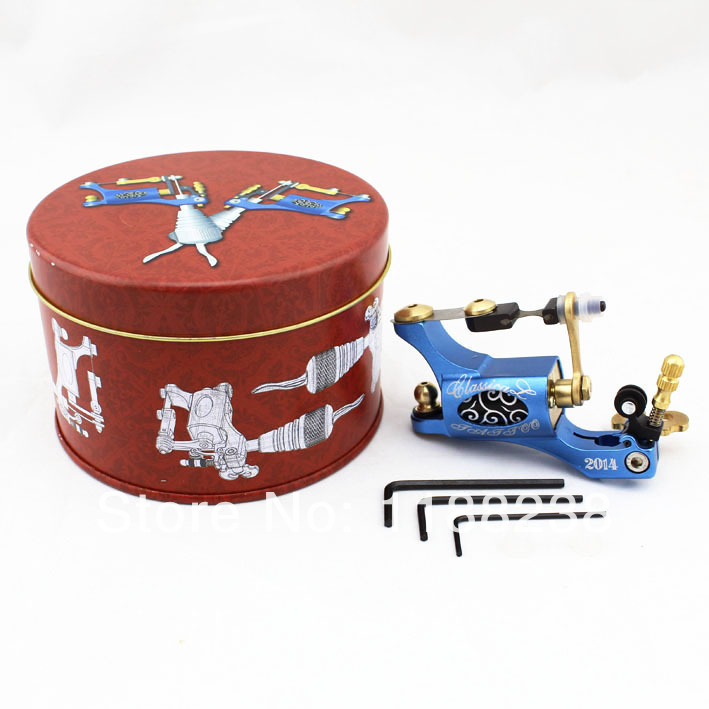 pro rotary tattoo machine gun motor metal frame liner shader with box Blue for complete tattoo kit needle supply free shipping 1set pro neuma style rotary tattoo gun machine for shader