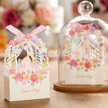 Фотография 2015 50pcs bride and groom wedding candy box,flower wedding favor box paper box,Chocolate Box,casamento,infantil (with ribbon)