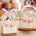 50pcs Bride And Groom Wedding Favor Box Flower Gift Box Wedding Decoration Wedding Bride And Groom Candy Box Party Supplies