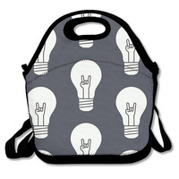 3D Print Creative Light Bulb Lunch Bags Insulated Waterproof Food Backpacks Girl Packages Womens Kids Babys