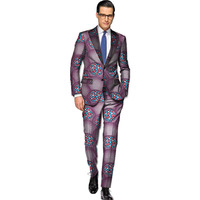 African men blazer+pant sets gentlemen suits print dashiki blazers with trousers tailor made africa clothing for wedding