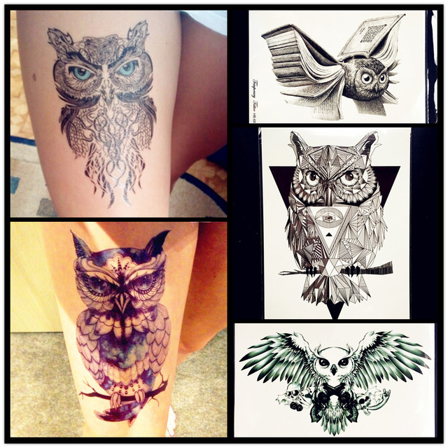 Us 0 86 Hot Blue Eye Owl Waterproof Temporary Tattoo Women Men Large Body Art Arm Tattoo Stickers 21x15cm Large Body Arm Legs Tatoo Owl In Temporary