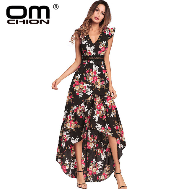 e162d301b5 Omchion Boho 2018 V profundo Masajeadores de cuello sexy Bohemia verano vestido  mariposa manga Encaje irregular