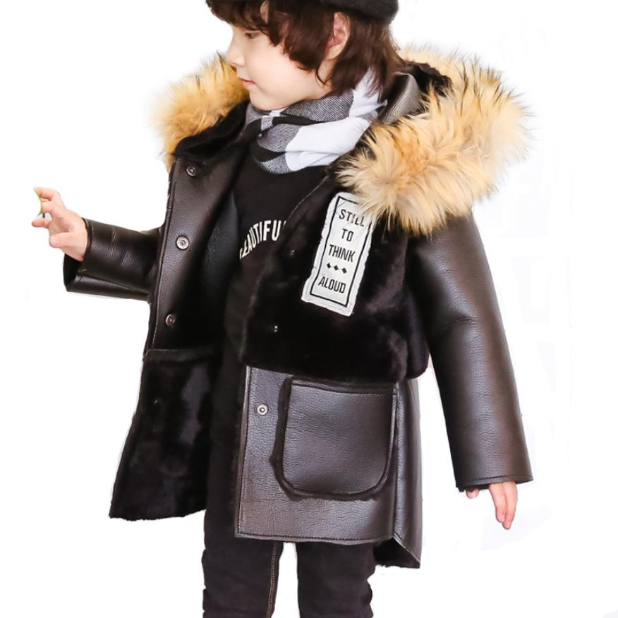 2019 Winter Children's Faux Fur Coat Patchwork Fur PU Leather jackets Baby Boys Girls Warm Fur Hooded coat Thicker Outerwear Y44