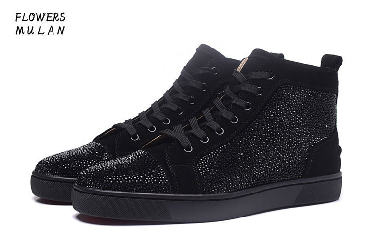 Hot Popular Black Bottom Lace-Up Casual Shoes Men Fashion Rivet Short Boots Height Increasing Man's Plate Shoes Size 35-46 chilenxas autumn winter large size 35 45 leather men casual shoes lace up breathable lovers height increasing fashion waterproof