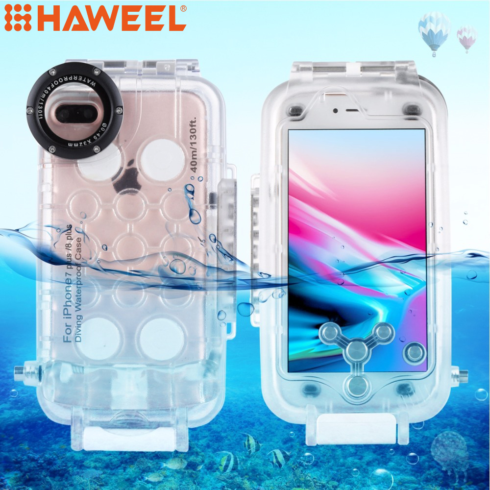 HAWEEL Diving Housing For iPhone 6 6s&6 6splus&7/8&7/8plus 40M/130FT Waterproof Photo Underwater Cover Case For iPhone