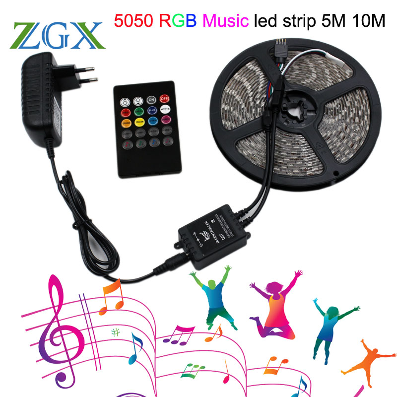 RGB Music sync LED Strip light SMD 5050 5M 10M 60led M Waterproof Flexible Tape diode ribbon Controller DC 12V adapter set lamp