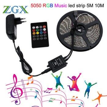 RGB música sincronización luz LED SMD 5050 5 M 10 M 60led/M impermeable Flexible cinta de diodo de cinta controlador DC 12 V adaptador de lámpara