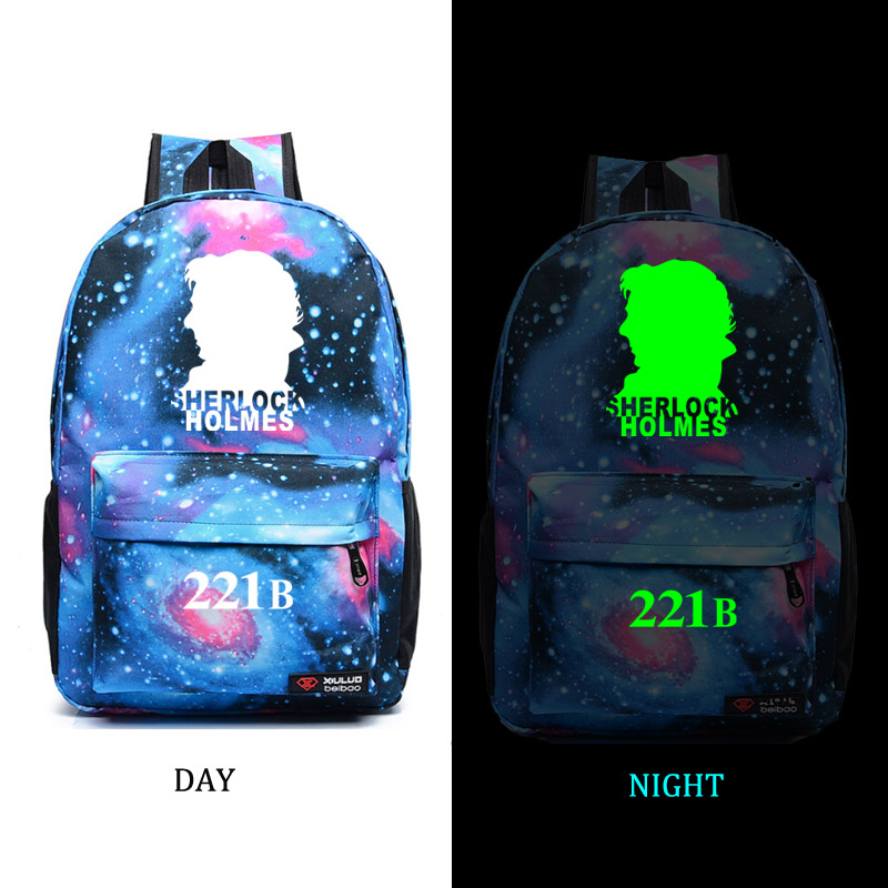 Sherlock 221B school bag noctilucous backpack student school bag Notebook backpack Daily backpack