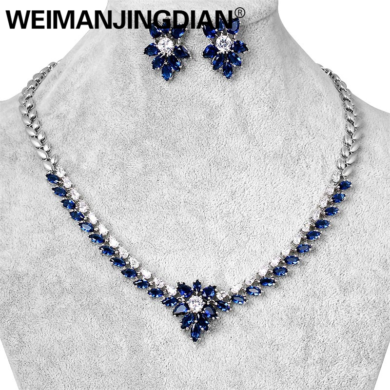 WEIMANJINGDIAN Assorted Colors Fuchsia Blue Green Flower Cubic Zirconia Sparkling CZ Necklace Wedding Bridal Jewelry Set assorted colors tagboard 18 x 12 blue canary green orange pink 100 pack