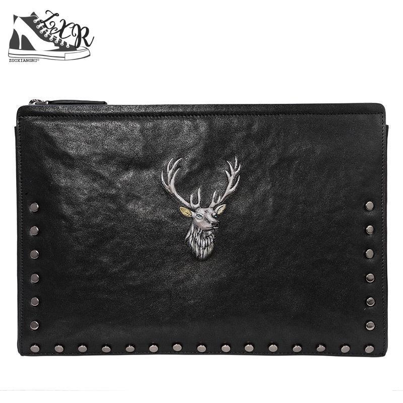 цена на Zuoxiangru New Deer Head Embossed Men's Clutch Bag Business Casual Men Bag Large-capacity Clip Bag Men's