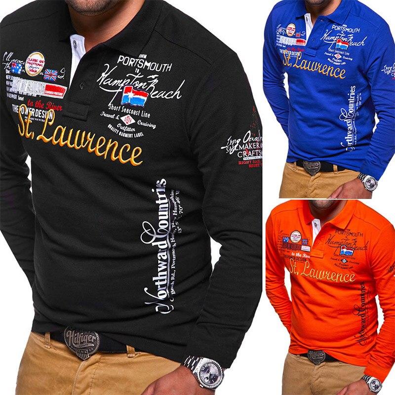 Zogaa 2019 Autumn Breathable Cotton Slim   Polo   Shirts Men Long Sleeve Fashion Collar Fitness Thicker Men   Polo   Shirt Printed