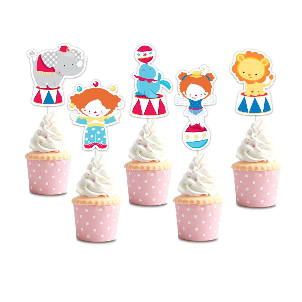 Circus Party Cupcake Toppers Birthday Party Decorations
