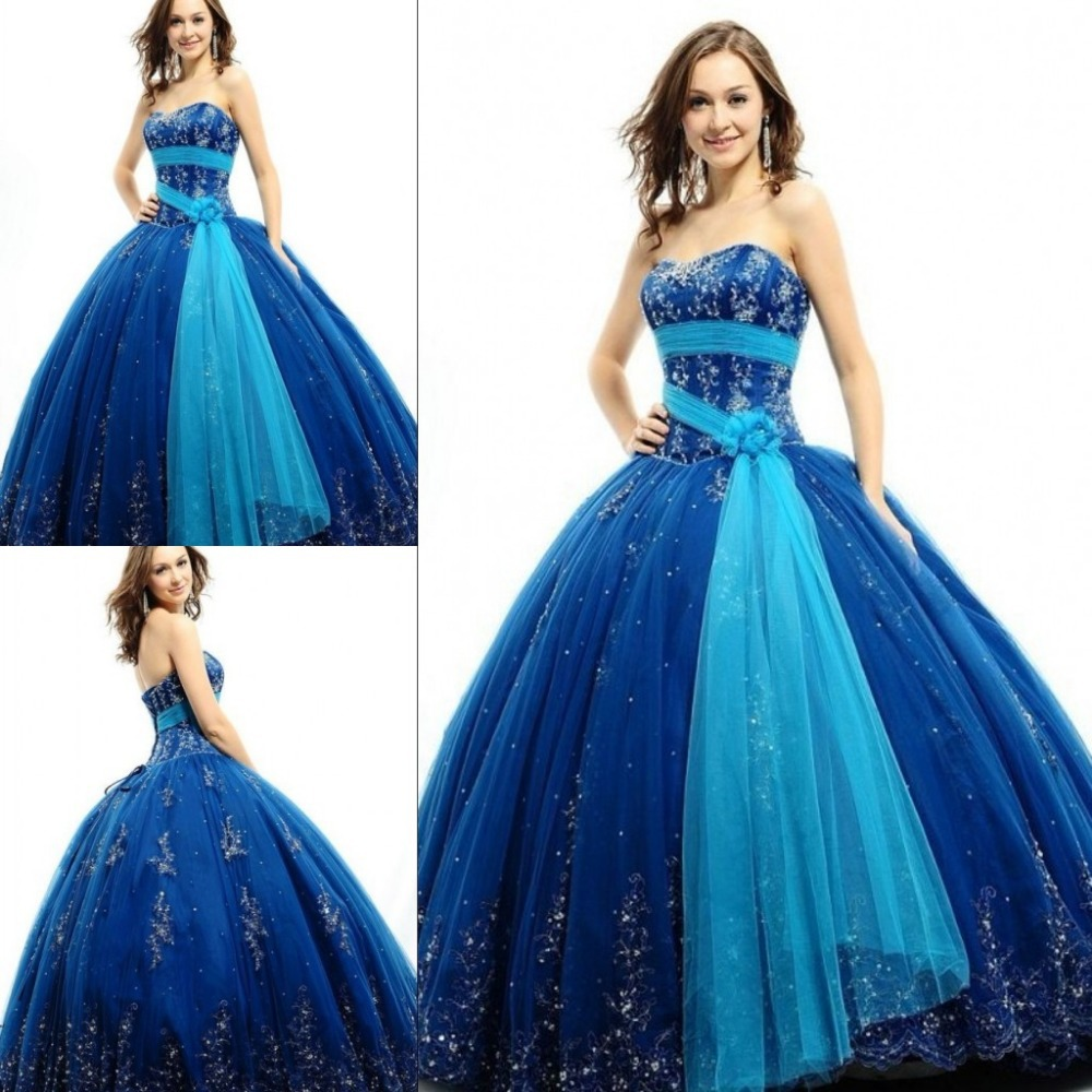New Belt Custom Made Corset Back Blue Beaded Strapless Vestido De Debutante 15 Years 2019 Quinceanera Ball Gown   bridesmaid     dress
